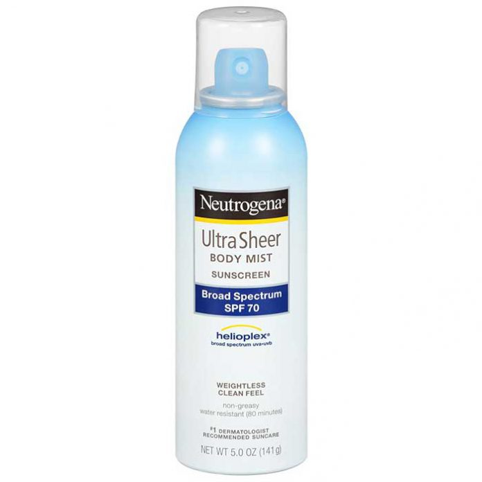 Neutrogena Ultra Sheer Body Mist Sunscreen, Broad Spectrum SPF 70